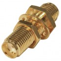 RSA3410-1 In Series Adapter, SMA Female to Female Bulkhead, Gold, RFI