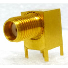 142-0299-001 SMA Female Right Angle PC Mount Connector, Gold, EF Johnson