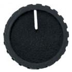 KNOB1G Black Knob, Black cap with White pointer, Flat finish, 1/4 shaft