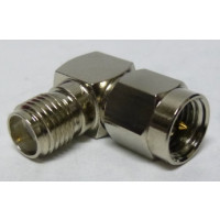 132172N  IN Series Adapter, SMA Male to SMA Female, Right Angle, Nickel, Amphenol