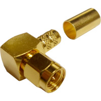 132239  SMA Male Crimp Connector, Right Angle, Cable Group X, Amphenol