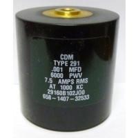 29160B102JO0  Transmitting Mica Capacitor, .001uf 6kv, 7.5 amps, CDM