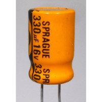 RAD330-16 Capacitor, elec. 330uf 16v, Radial sprague