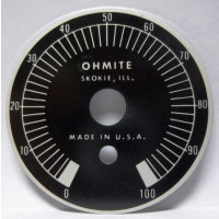 Ohmite Dial Face for Wirewound  Rheostat 0-100 (NOS)