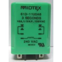 613-11U0A6  Time Delay Relay, 10a, 1/3 HP, 120vac, 3 seconds, Midtex