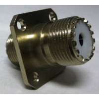 IN Series Adapter, UHF Female/Female 4 Hole Flange Chassis Mount,  Greenpar (G40004HBN)