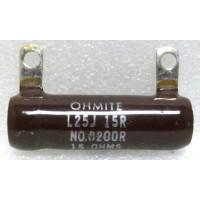 L25J15R  Wirewound Resistor, 15 ohm 25 watt, Ohmite
