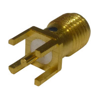 RSA3350-1 SMA Female Vertical PCB Mount Connector, Gold, RF Industries,