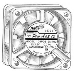 109P0612 Fan, 12v .07a, Sanyo
