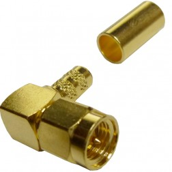 132194  SMA Male Crimp Connector, Right Angle, Cable Group C1, Amphenol
