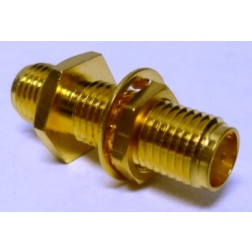 132170 In-Series Adapter, SMA Female to Female, Straight, Bulkhead, .871 long, Amphenol