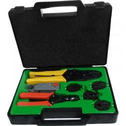 1505 - Complete Crimping tool Kit, Handle, Cutter, Strip Tool, 5 Dies