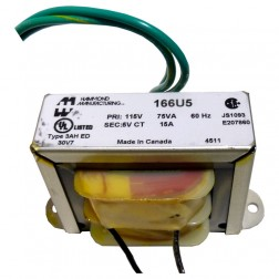 166U5 - Transformer 5vac ct at 15a, Hammond