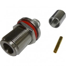 172168 Type-N Female Crimp Connector, Cable Group F, Bulkhead, Amphenol