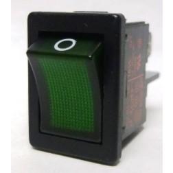 1855 Rocker Switch, DPST, 4a 250vac, Green Illuminated