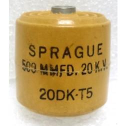 20DKT5 Capacitor, doorknob 500pf 20kv. Sprague