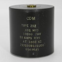 292100B102J00, Capacitance .001mfd, Voltage 10kv, Amps 10