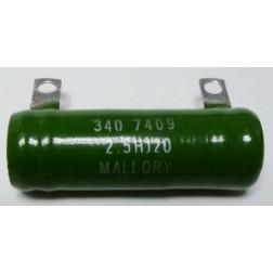 2.5HJ20  Wirewound Resistor, 20 ohm 25 watt, Mallory