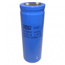 36DE40LG Capacitor, electrolytic, 60,000 uf/40vdc comptr grade, Marked 36de.  Chemicon