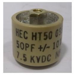 HT50 Ceramic Doorknob Capacitor 50pf 7.5kv 10% (Pull)