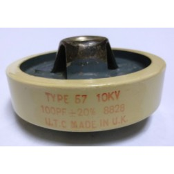 57-100-10 Doorknob Capacitor 100pf 10kv, UTC (Clean Used)