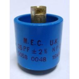 570025-15P-2 Doorknob Capacitor, 25pf 15kv (Clean Used) 2%,  M.E.C. UK