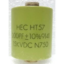 570200-15P Doorknob Capacitor, 200 pf 15 kv, HEC (Clean Pullout)