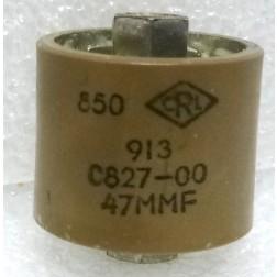 580047-5P Doorknob Capacitor, 47pf 5kv, Clean pullout