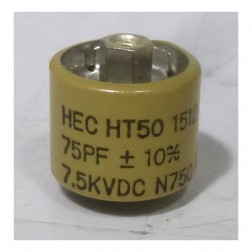 580075-7 Doorknob Capacitor 75pf 7.5kv, HT50V750KA 10%  High Energy