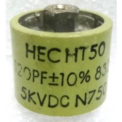 580120-5P  Doorknob Capacitor, 120pf 5kv 10%, Clean Pullout