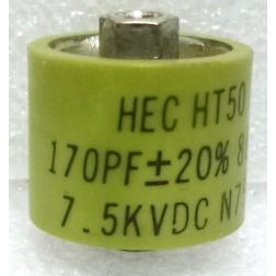 580170-7P  Doorknob Capacitor, 170pf 7.5kv, 20%, Clean Pullout