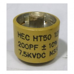 Doorknob Capacitor, 200pf 7.5kv, 10% High Energy (HT50V201KA/580200-7)