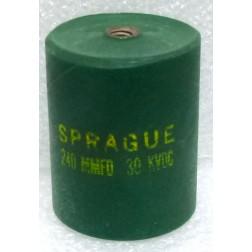 "715C241X30DK Capacitor, doorknob  240pf 30kv 1.365"" x 1.065"".  Sprague"
