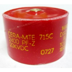 715C242Z20DK  Doorknob Capacitor, 2400pf 20kv, Cera-Mite (Clean Used)