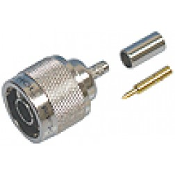 82-5375 Type-N Male Crimp Connector, Straight, Knurled Nut, Amphenol