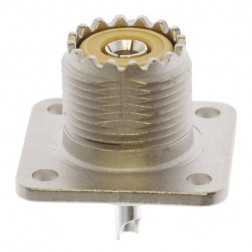 83-1R UHF Female 4 Hole Flange Chassis Mount Connector, Solder Cup (SO239/A), Amphenol