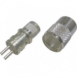 RF83-821 Twin Ax Male Solder Type Connector(PL259-Style), Straight, Knurled Nut, Cable Group: E,  Amphenol/RF