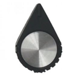 KNOB1E Tuning knob black .725 x .54, Chrome cap & arrow pointer