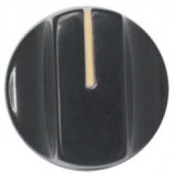 KNOB1L Tuning knob black .74 x .56, Slotted w/ white pointer