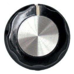 KNOB2A Tuning knob, black w/skirt, Chrome cap w/white pointer, Raytheon