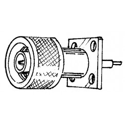 N-MGM  Type N-Male Chassis Connector, 4 hole panel mount w/PTFE ext,