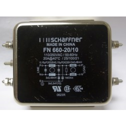 FN660-20/10  EMI Noise Filter, 20amp 110/250vac, Schaffner