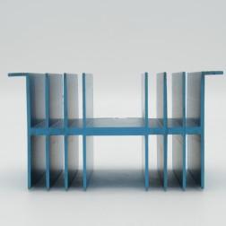 "HSBLU-4  Heatsink Blue Anodized Aluminum  4"" Wide x 3"" Long x 2-5/8"" High"