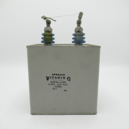 P15832 Sprague Vitamin Q Oil-Filled Capacitor, 4 mfd, 6000 V.D.C. (Used, Great Condition)