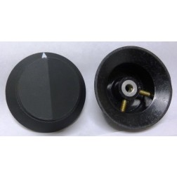 KNOB17  Tuning Knob with Skirt, Black (Matte) with White Pointer and raised center Pointer