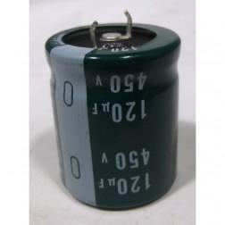 LGU2W121MHLA  Capacitor, 120 uf 450v,snap lock can.  Nich