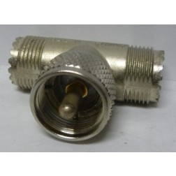 M358  IN Series TEE Adapter, UHF Male(PL259) to Double Female(SO239),  Amphenol