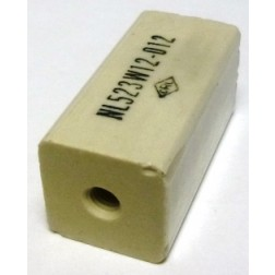 "NL523W12-012 Standoff Insulator, Glazed Ceramic, 1 1/2"" Long x 3/4"" Wide with Threaded Mounting Holes, Centralab"
