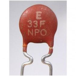 NPO-33  Disc Capacitor, 33pf (Cut Lead) NPO
