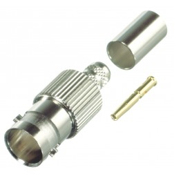 0-RFB1724-S  BNC Female Crimp Connector, Cable Group S, 75 Ohm, RFI